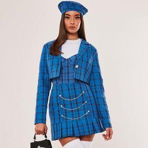 Missguided blue plaid skirt & hat Sz 0
